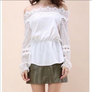 Chicwish white eyelet long sleeve blouse shirt NWT